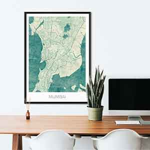 Mumbai gift map art gifts posters cool prints neighborhood gift ideas