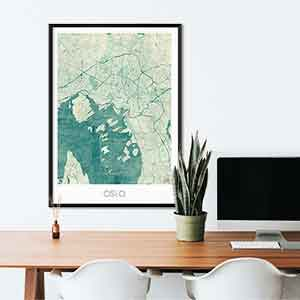 Oslo gift map art gifts posters cool prints neighborhood gift ideas