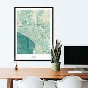 Lima gift map art gifts posters cool prints neighborhood gift ideas