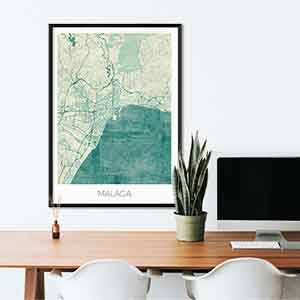 Malaga gift map art gifts posters cool prints neighborhood gift ideas
