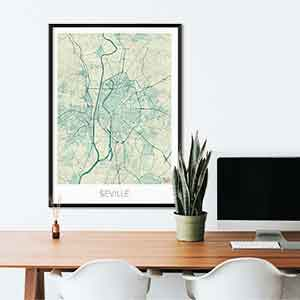 Seville gift map art gifts posters cool prints neighborhood gift ideas