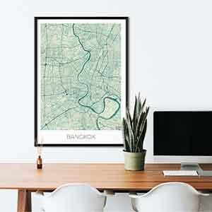 Bangkok gift map art gifts posters cool prints neighborhood gift ideas