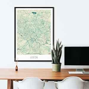 Leeds gift map art gifts posters cool prints neighborhood gift ideas