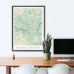 Newcastle Upon Tyne gift map art gifts posters cool prints neighborhood gift ideas