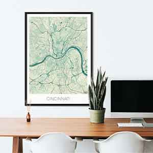Cincinnati gift map art gifts posters cool prints neighborhood gift ideas