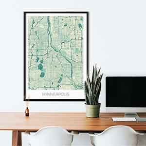 Minneapolis gift map art gifts posters cool prints neighborhood gift ideas