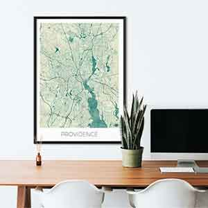 Providence gift map art gifts posters cool prints neighborhood gift ideas