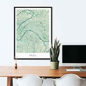Paris gift map art gifts posters cool prints neighborhood gift ideas