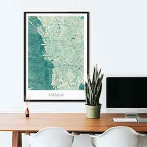 Manila gift map art gifts posters cool prints neighborhood gift ideas