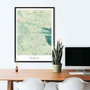 Dublin gift map art gifts posters cool prints neighborhood gift ideas