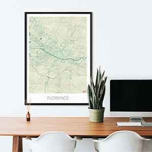 Florence gift map art gifts posters cool prints neighborhood gift ideas