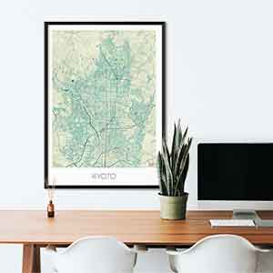 Kyoto gift map art gifts posters cool prints neighborhood gift ideas