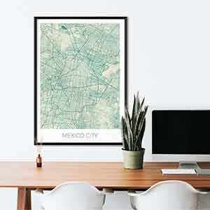 Mexico gift map art gifts posters cool prints neighborhood gift ideas
