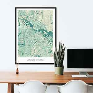 Amsterdam gift map art gifts posters cool prints neighborhood gift ideas