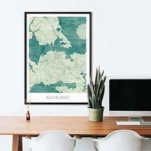 Auckland gift map art gifts posters cool prints neighborhood gift ideas