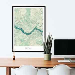 Seoul gift map art gifts posters cool prints neighborhood gift ideas