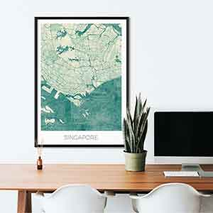 Singapore gift map art gifts posters cool prints neighborhood gift ideas