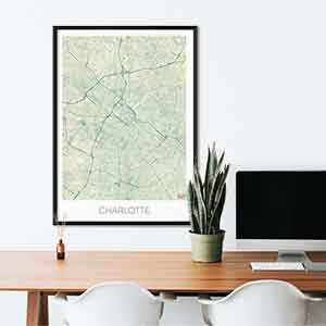 Charlotte gift map art gifts posters cool prints neighborhood gift ideas