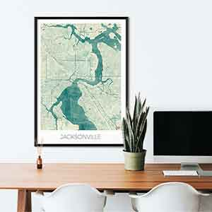 Jacksonville gift map art gifts posters cool prints neighborhood gift ideas