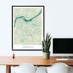 Louisville gift map art gifts posters cool prints neighborhood gift ideas