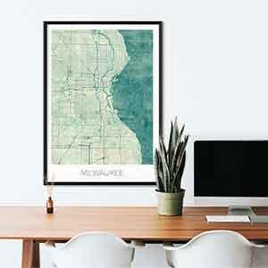 Milwaukee gift map art gifts posters cool prints neighborhood gift ideas