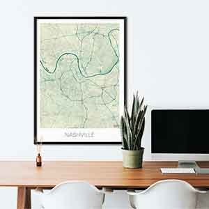 Nashville gift map art gifts posters cool prints neighborhood gift ideas