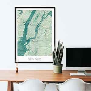 New York gift map art gifts posters cool prints neighborhood gift ideas