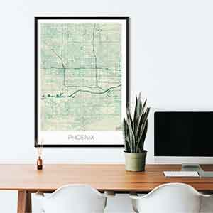 Phoenix gift map art gifts posters cool prints neighborhood gift ideas