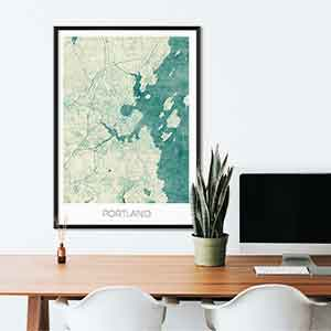 Portland ME gift map art gifts posters cool prints neighborhood gift ideas