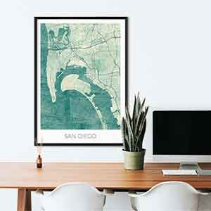 San Diego gift map art gifts posters cool prints neighborhood gift ideas