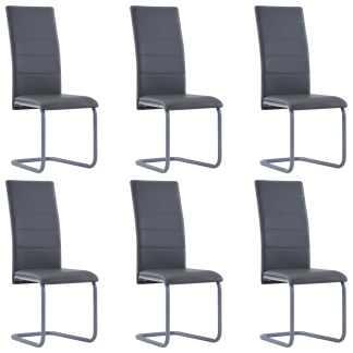 vidaXL Valgomojo kėdės, 6vnt., pilkos spalvos, dirbtinė oda