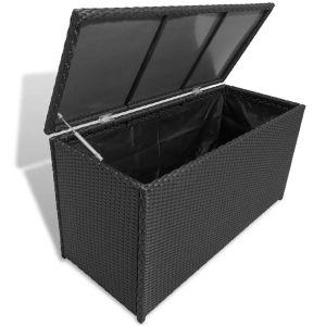 vidaXL Sodo daiktadėžė, juoda, 120x50x60cm, poliratanas
