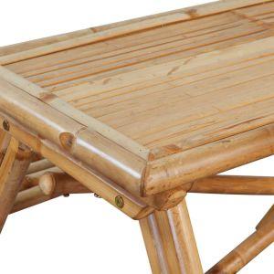 Iškylos stalas, bambukas, 120x120x78 cm