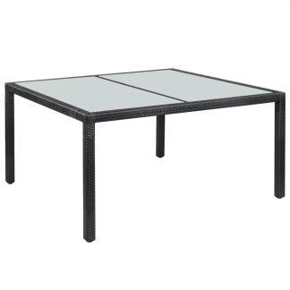 vidaXL Lauko pietų stalas, poliratanas, 150x90x75 cm, juodas