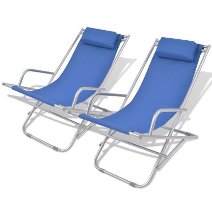vidaXL Atlošiami gultai, 2 vnt., plienas, mėlynos spalvos