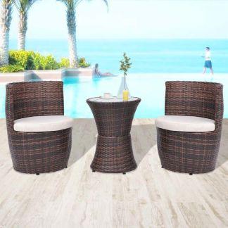 vidaXL Bistro baldų komplektas su pagalvėlėmis, 3d., poliratanas, rudas