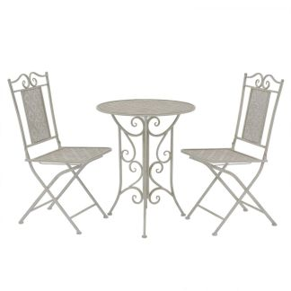 vidaXL Bistro baldų komplektas, 3 dalių, plienas, pilkas