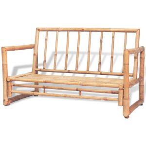 Dvivietė sodo sofa su pagalvėlėmis, pilkos spalvos, bambukas