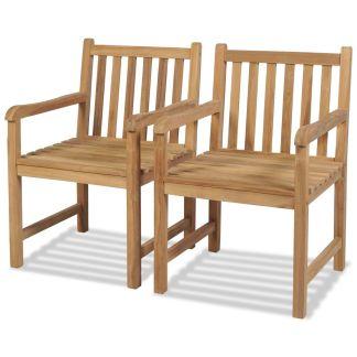 vidaXL Lauko kėdės, 2 vnt., tikmedis