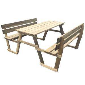 vidaXL Iškylos stalas su 2 suoliukais, impregnuota pušies mediena