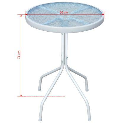 Lauko stalas, 50x71cm, plienas, apvalus, pilkos sp.