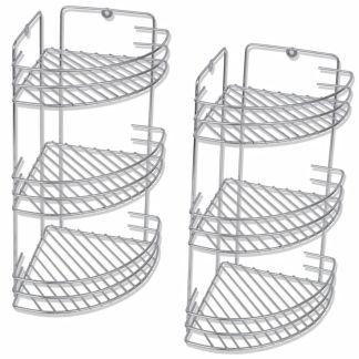 vidaXL 3 lygių kampinės dušo lentynos, 2 vnt., metalinės