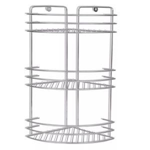 3 lygių kampinės dušo lentynos, 2 vnt., metalinės