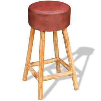 vidaXL Baro kėdė, tikra oda, ruda ir natūrali sp., 35×78 cm