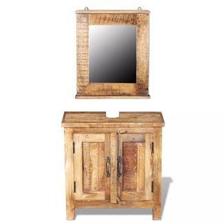 vidaXL Vonios spintelė su veidrodžiu, tvirta mango mediena