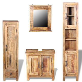 vidaXL Vonios spintelė su veidrodžiu ir 2 šon. spint., mango mediena
