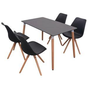 5 dalių valgomojo stalo ir kėdžių komplektas, juoda