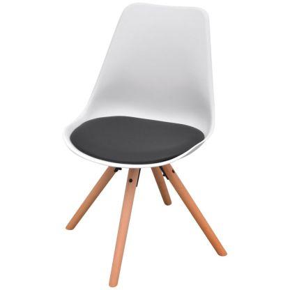 5 dalių valgomojo stalo ir kėdžių komplektas, juoda ir balta