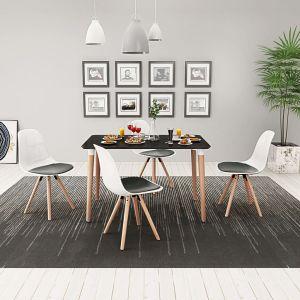 vidaXL 5 dalių valgomojo stalo ir kėdžių komplektas, juoda ir balta