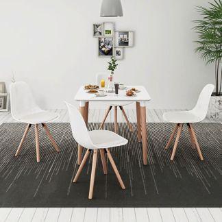 vidaXL 5 dalių valgomojo stalo ir kėdžių komplektas, balta